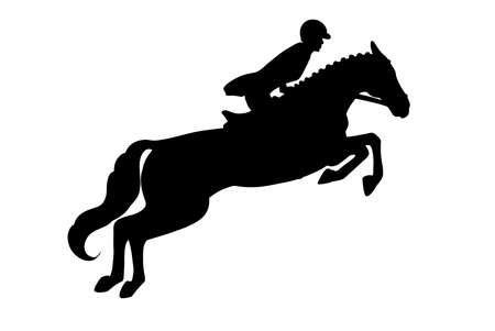 Horseback riding. Show jumping. A woman in a competition jumps on a horse. Silhouette.