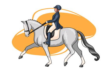 Horseback riding. Dressage. Woman riding a horse. The horse performs the dressage element. Vetores