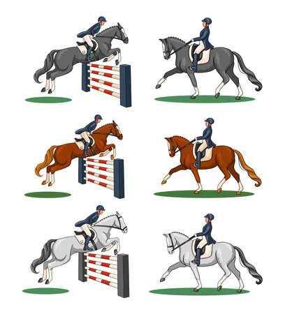 Horseback riding. Dressage and show jumping. Set. A woman riding a horse performs a dressage element and jumps over an obstacle. Векторная Иллюстрация
