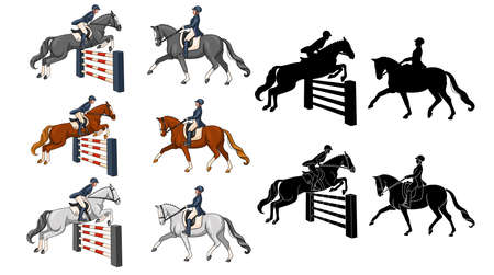 Horseback riding. Dressage and show jumping. Set. A woman riding a horse performs a dressage element and jumps over an obstacle. Vetores