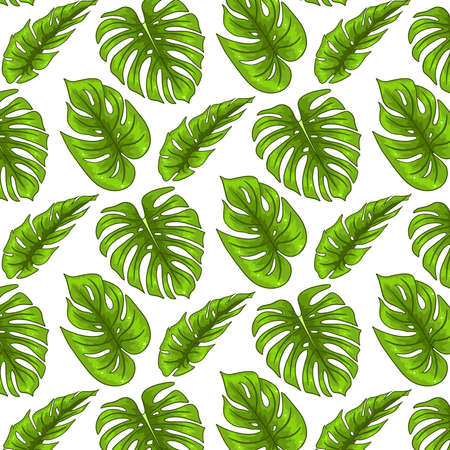 Tropical seamless pattern with exotic leaves in cartoon style. Bright summer print for design and background.