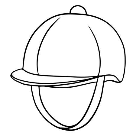 Outfit of the rider protection of the head of a jaquette helmet illustration in line style coloring book. Drawing isolated on a white background for design and decoration. Vetores
