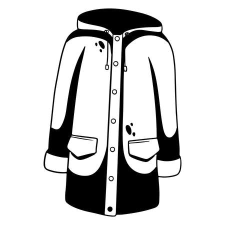 Rain protection. Raincoat with kormans and a hood. Autumn clothes. Line style. Vector illustration for design and decoration.