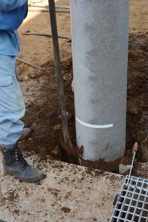 The utility poles installation construction work