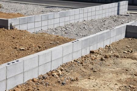 Housing construction (Concrete block work) Stock Photo