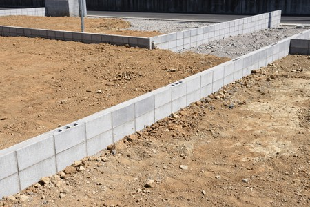 Foundation work of housing construction 写真素材