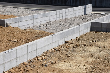 Foundation work of housing construction 스톡 콘텐츠