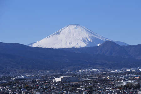A view of Mt.Fuji in February,completely covered with snow