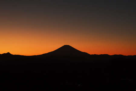 Silhouette view of Mt.Fuji after sunset in February.