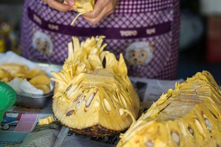 flesh colour: Jackfruit Stock Photo