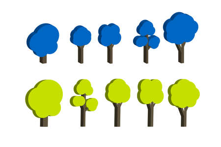 3D deciduous trees on a white isolated background. Flat icon of a forest. Variety of hand-drawn illustrations. Oak, poplar, chestnut, aspen, alder, Apple tree. Isometric style. Blue and light green.