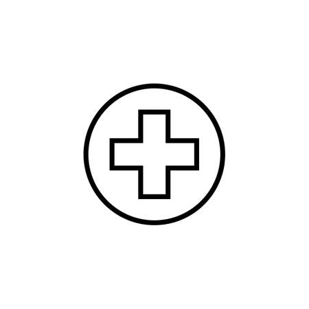 Cross in line art style. Christian church illustration. Homeopathy medicine, healthcare. Religious sign. Medicine doctor logo, outline.