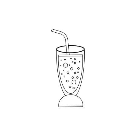 Carbonated drink in a cocktail glass with a straw. Vector illustration isolated on a white background. Outline, line, icon drawing.