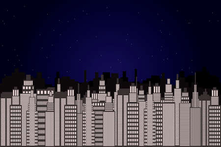 Modern vector illustration. Beautiful city. The architecture of the buildings. Megapolis. With space for text. Illustration