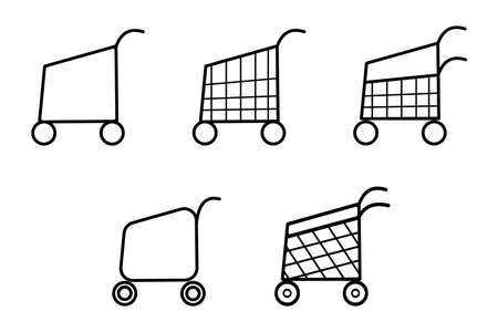 Modern abstract web banner with cart on white background. Flat advertising concept. Graphic element, trolley icon vector. Supermarket illustration. Empty shopping cart. Market retail sign. Ilustrace
