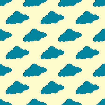 3D clouds, seamless background. Printing for paper Wallpaper, tiles, textiles, and decor. Vector symbol in a flat isometric style. The day sky is white and blue.