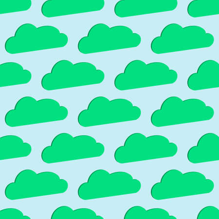 3D clouds, seamless background. Printing for paper Wallpaper, tiles, textiles, and decor. Vector symbol in a flat isometric style. The day sky is turquoise and blue.