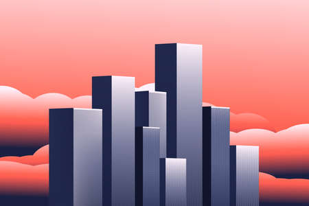 Modern vector illustration. Beautiful city. At sunset, at dawn. In 3D style. The architecture of the buildings. Megapolis in the clouds. With space for text.