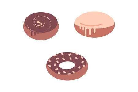 Delicious doughnuts covered with chocolate icing. In the form of a ring and is round. Isolated on a white background. In flat style. Bakery products. Set.