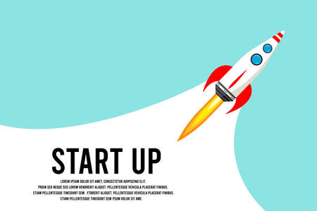 Rocket launch in the sky, space. Space ship. interstellar travels. Business concept. Start up template. background. Simple modern cartoon design. Flat vector illustration.