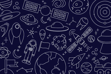 Modern pattern of planet, star, comet, with different rockets. Universe line drawings. Cosmos. Trendy space signs, constellation, moon. Outline, doodle style, icon, sketch. on blue dark background.