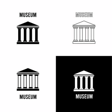 Creative vector element. Trade company illustration. Museum sign. Symbol, icon. Art gallery logo. Urban architecture. Logo