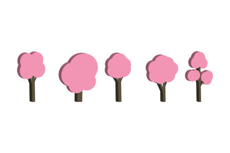 deciduous trees on a white isolated background. Flat icon of a forest. Oak, chestnut, aspen, alder, Apple tree. Isometric style. Pink. Ilustração