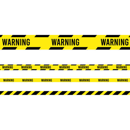 Ribbon banner with warning tape. Police line set. caution, attention, restriction. Traffic sign. Illustration