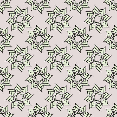 Seamless background. Folk ethnic ornament. Abstract kaleidoscopic graphic. Print for paper wallpaper, tiles, textiles, for decoration. Repeating geometric pattern. Template. Monochrome. Vector.