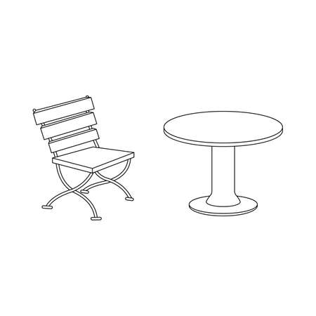 Table, chair for bar, restaurant, cafe. Vector illustration isolated on a white background. Outline, line, icon, drawing. Illustration
