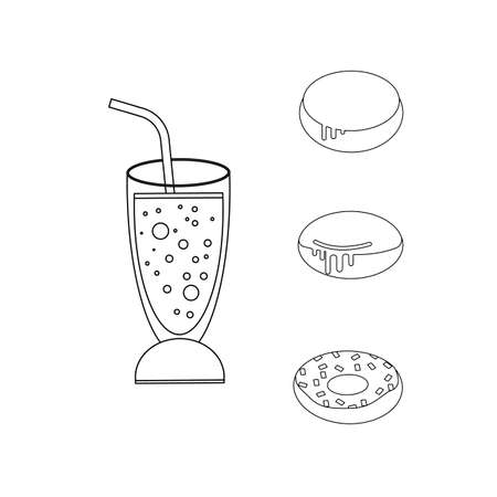 Carbonated drink in a cocktail glass with a straw. Doughnuts. Vector illustration isolated on a white background. Outline, line, icon, drawing.