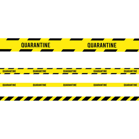 Ribbon banner with warning tape. Police line set, caution, attention, restriction. Quarantine.