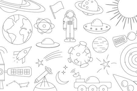 Modern pattern of planet, star, comet, with different rockets. Universe line drawings. Cosmos. Trendy space signs, constellation, moon. Outline, doodle style, icon, sketch. on white background. Illusztráció