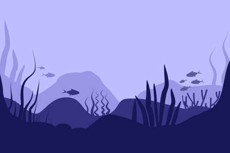 Seabed in abstract style on deep blue background. Sea landscape. Flat cartoon vector illustration. Underwater world. Nature landscape template. Beautiful poster for concept design. wallpaper.