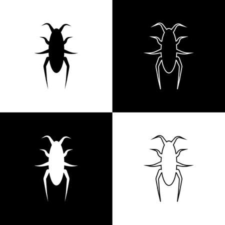Vintage character black beetle on white and black