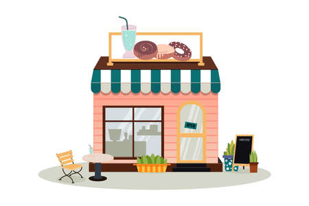Facade of the cafe building with a sign. A bakery store, cafe, pastry and dessert shop. A display of coffee and cakes products. Market or supermarket. Flat vector illustration.