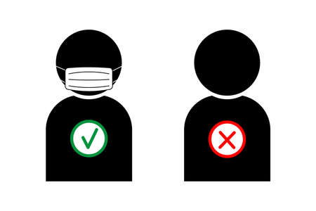 No entry without face mask sign. No face mask no entry. Icon. Warning sign. Vector front door plate. Vector illustration. new normal