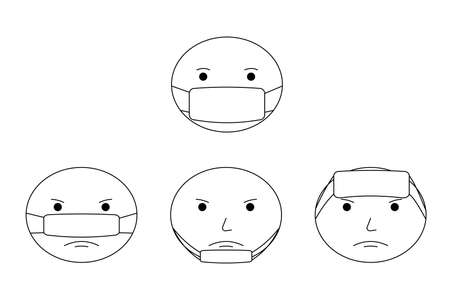 How to wear face mask correctly. The wright and wrong way to wear a mask, common mistakes of face mask wearing. Outline, line, icon. Vector illustration.