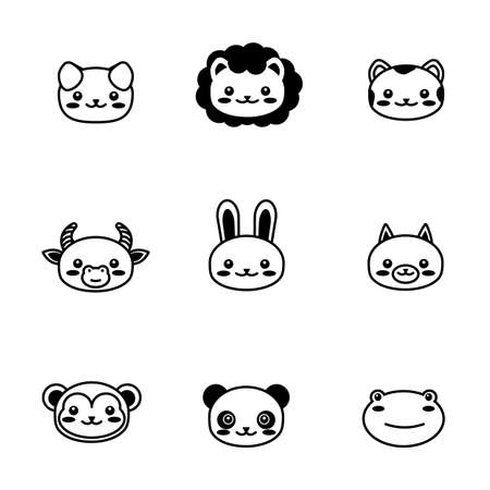 editable line, stroke. face head icon set. Kawaii animal. Cute cartoon character. Funny baby kids print. White background. Isolated. Outline symbol collection. 矢量图像
