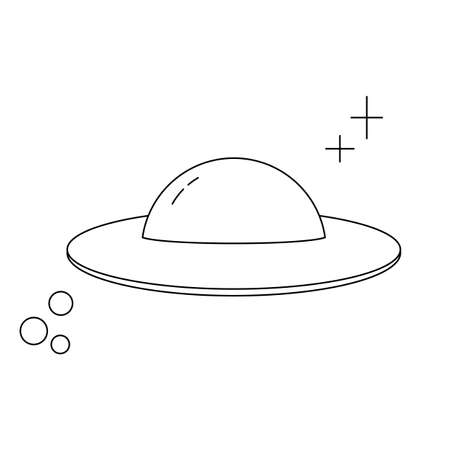 Cartoon ufo for flyer design. Isolated vector illustration. Universe galaxy. Line drawing. Vector icon. Flying saucer.