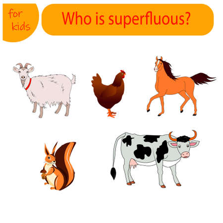 A game for children Find an extra animal. Goat, chicken, horse, cow, squirrel 일러스트