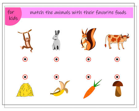 A game for children. Match the animals with their favorite foods