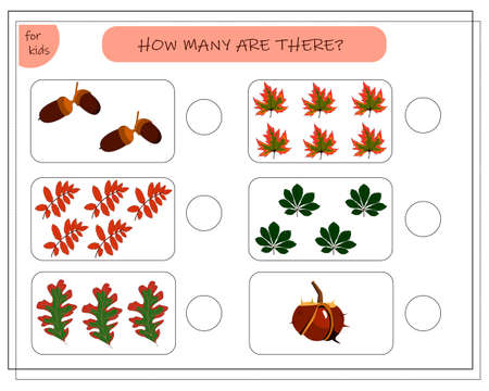Math game for kids count how many of them there are. The leaves of the trees, maple, oak, Rowan, chestnut acorn. write the correct answer