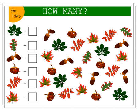 Math game for kids count how many of them there are. The leaves of the trees, maple, oak, Rowan, chestnut acorn