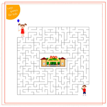 a maze game for kids. Help the children to pass through the maze to the zoo.