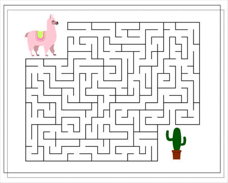 A maze game for kids. Guide the llama through the maze to the cactus. Vector isolated on a white background Ilustração Vetorial
