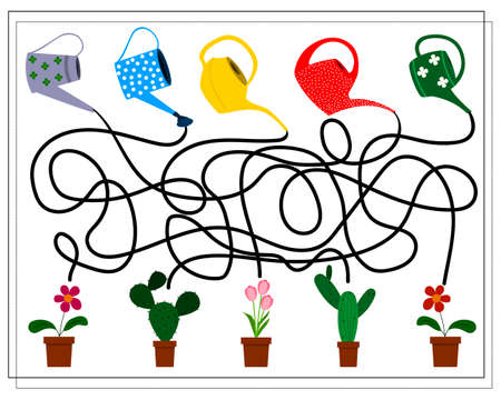 A puzzle game for kids. Go through the maze, which watering can that pours. Gardening tools, potted flowers. vector isolated on a white background