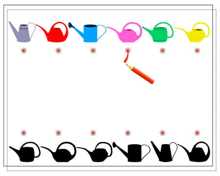 Children s puzzle game find the right shadow. Find the right shade for the watering can. Gardening, harvest, watering can. Vector isolated on a white background.