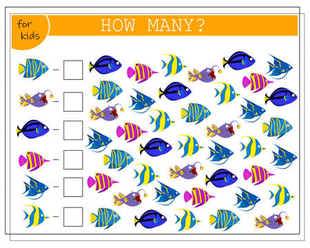 math game for kids, count how many fish there are. vector isolated on a white background