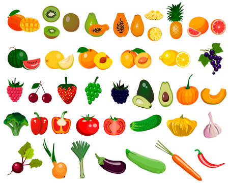 set of vegetables and fruits, vector isolated on a white background Vecteurs